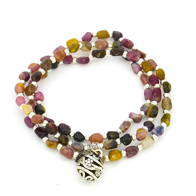 Bracelet tourmaline multicolore multitours