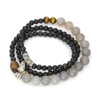 Bracelet obsidienne agate oeil de tigre onyx multirang