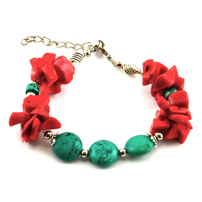 Bracelet ethnique rouge et turquoise