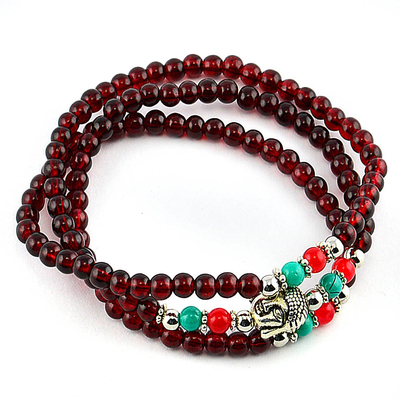 Bracelet ethnique multitours long bordeaux