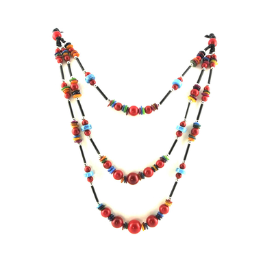 Collier ethnique himalayen rouge