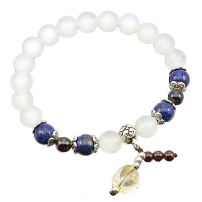 Bracelet agate lapis lazuli grenat