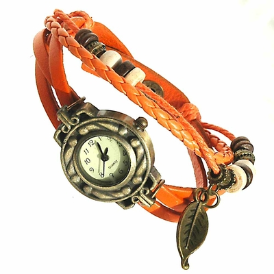 Montre bracelet cuir multirang quartz - Thalie - Orange - TerreZen