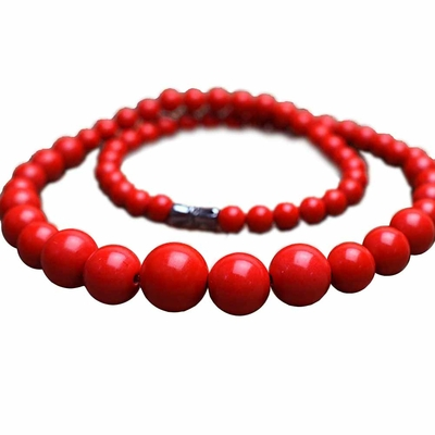 Collier perle pierre Cinabre 6-14mm 45cm - Ruby - Rouge - TerreZen