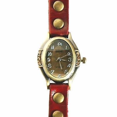 Montre bracelet quartz cuir - Xena - Ovale rouge - TerreZen