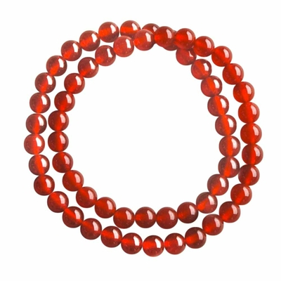 Bracelet perle pierre agate 2 rangs 6mm 35cm - Liam - Rouge - TerreZen