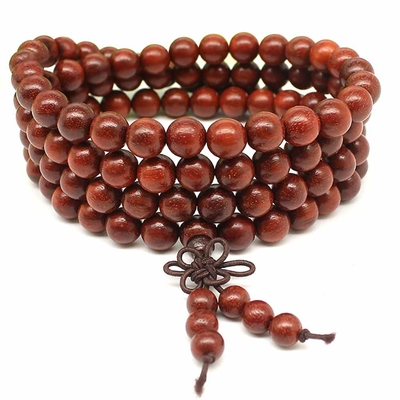 Bracelet mala bois 108 4-5 rangs 8mm rouge Shari
