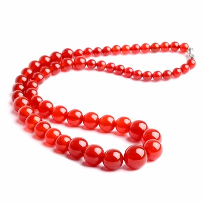 Collier pierre agate perles 6-14mm 45cm Rhe rouge