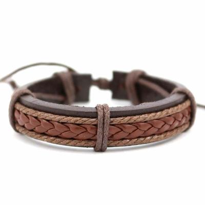 Bracelet ajustable en cuir tressé brun Teug