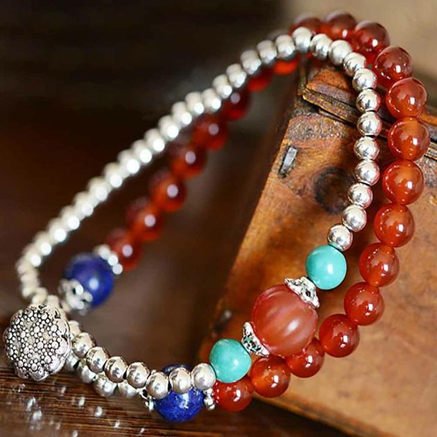 Bracelet-onyx-lapis-lazuli-agate-argent-925-duo-multirangs-2-pierre-gemme-Rouge-Bleu-Hitta-mes-bijoux-bracelets-com-B0483-3