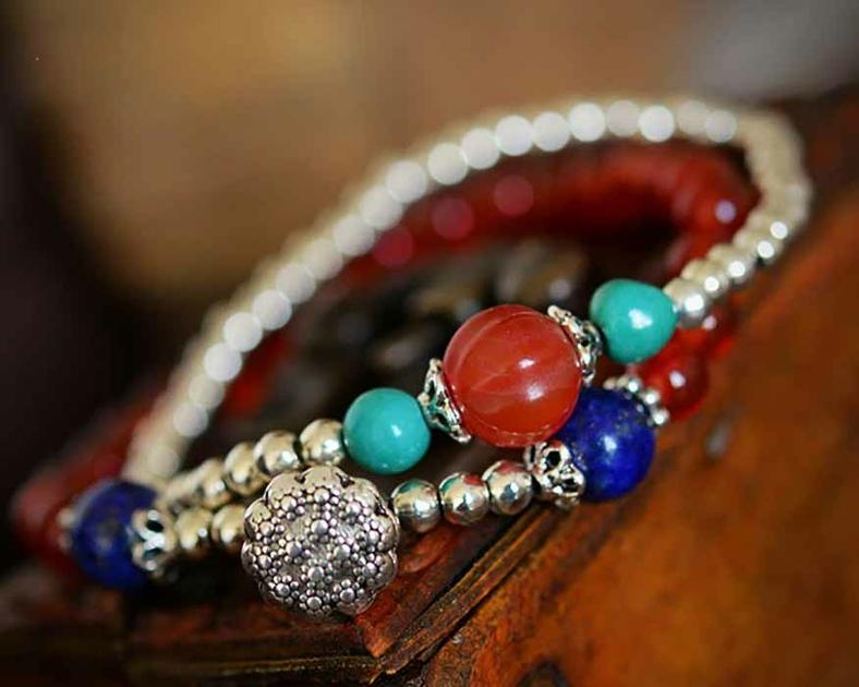 Bracelet-onyx-lapis-lazuli-agate-argent-925-duo-multirangs-2-pierre-gemme-Rouge-Bleu-Hitta-mes-bijoux-bracelets-com-B0483-8