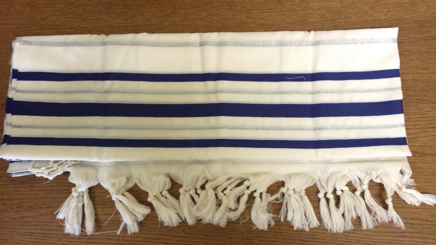 Talit Gadol bandes bleues larges avec liseret argent (Taille 50)