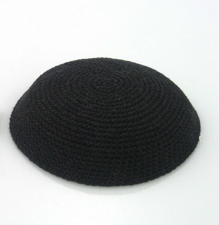 Kippa crochetée Noire (Grande Taille)