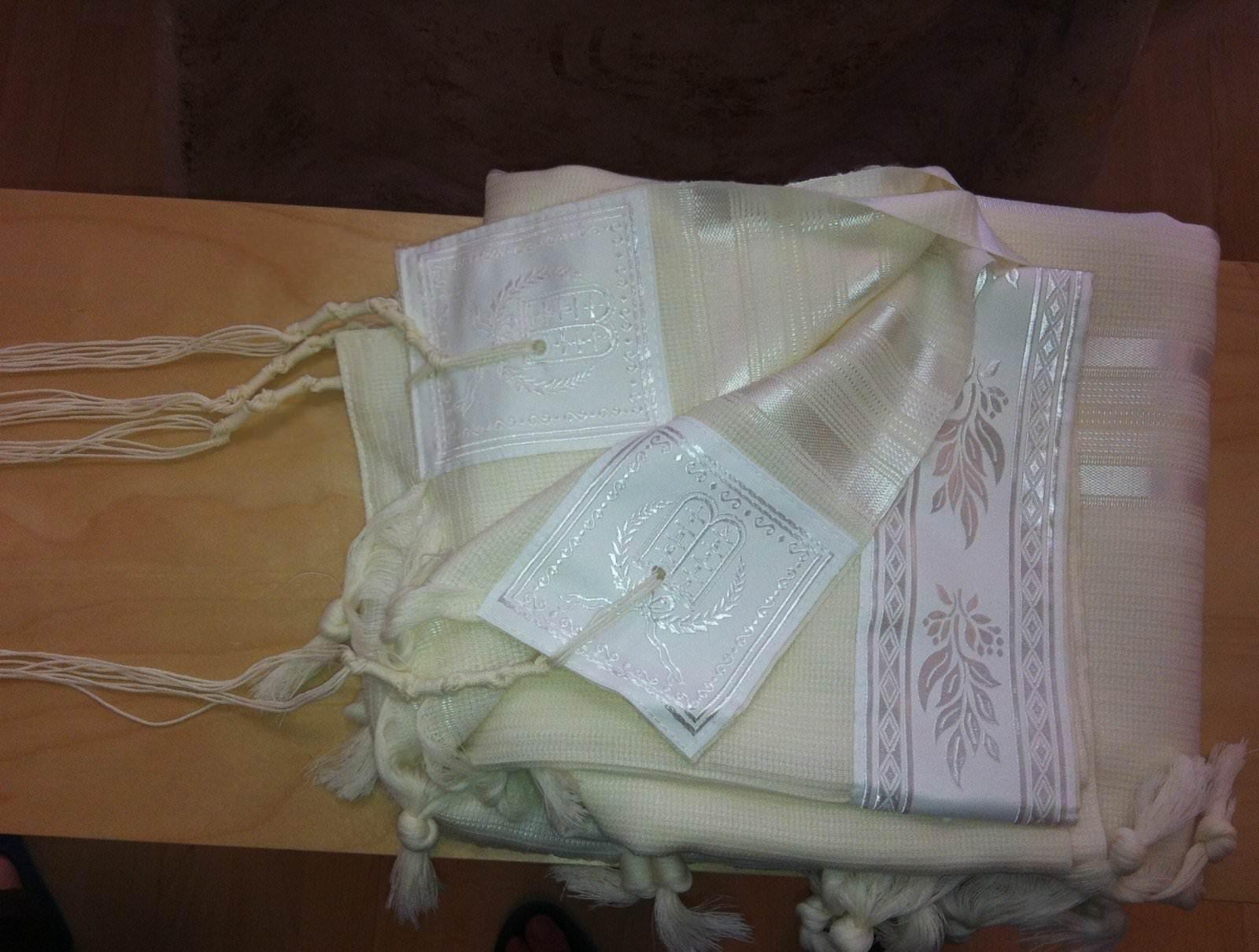 Talit gadol SPECIAL CEREMONIE Blanc en laine Peignée Luxe (Taille 50)