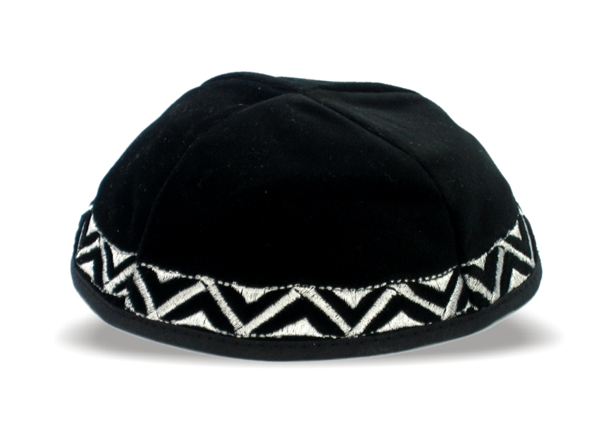 Kippa velours noir avec broderies