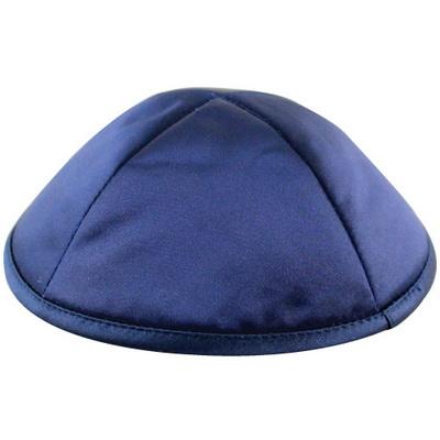 Kippa satin bleu marine porte-pince intégré