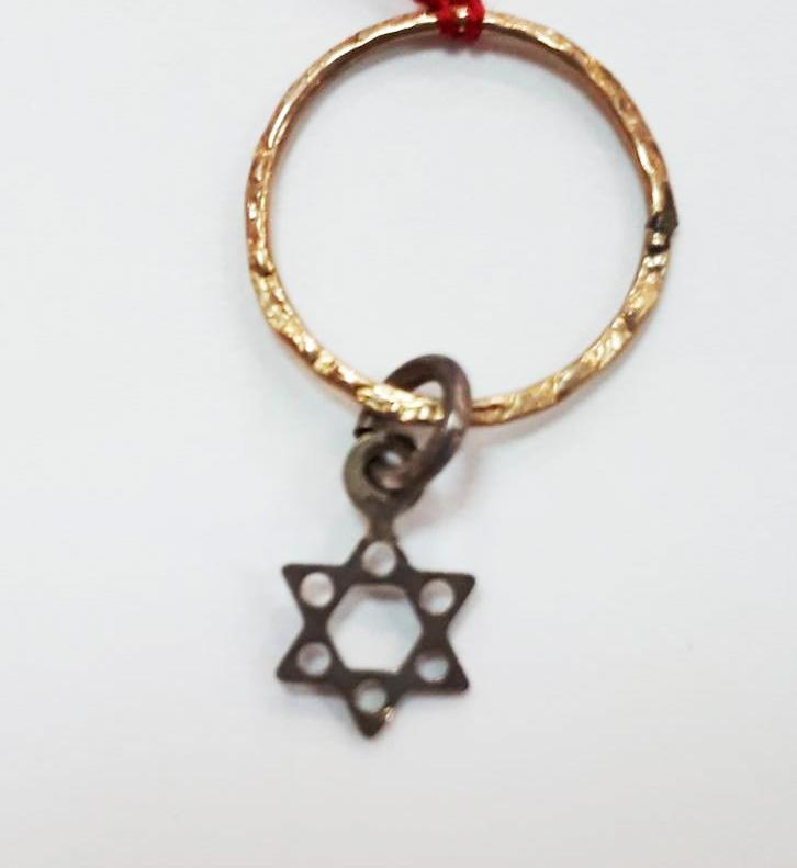 Petit pendentif Maguen David en argent avec son anneau