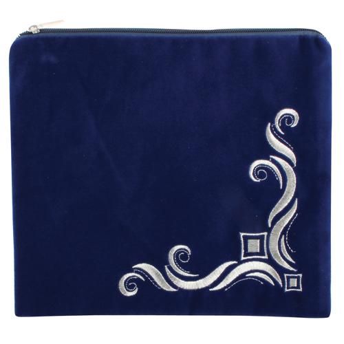 Pochette téfilines en velours bleu roi brodé