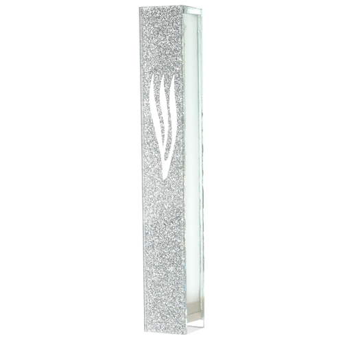 Mezouza en verre de 10 cm avec décor pailleté et shin en argent