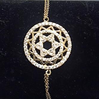 Bracelet Maguen David en plaqué or cerclé de Zirkon