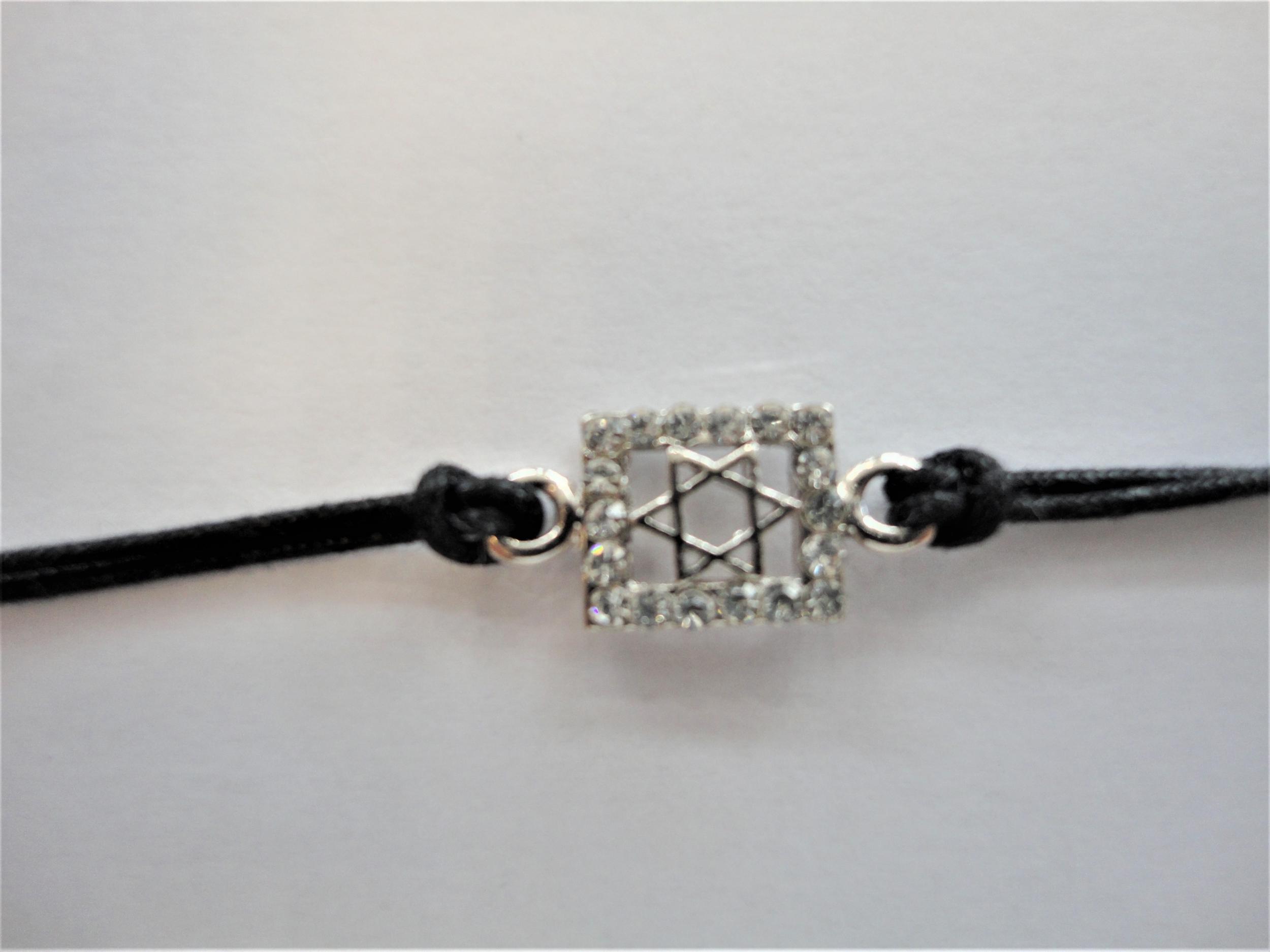 Bracelet Maguen David argenté et encadré de strass