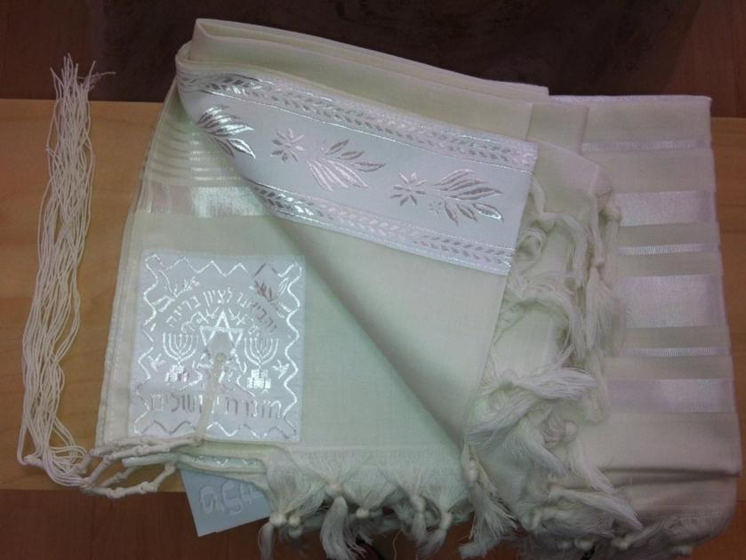 Talit gadol en laine blanc ,bandes blanches ton sur ton (taille 50)