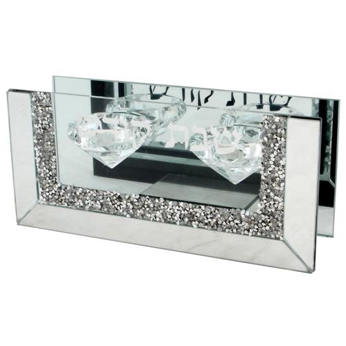 Bougeoirs en verre décorés de pierres