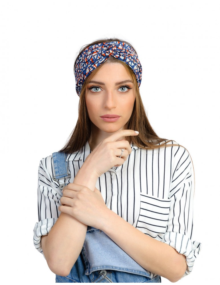 Bandeau turban imprimé orange, bleu Rinati Lakel