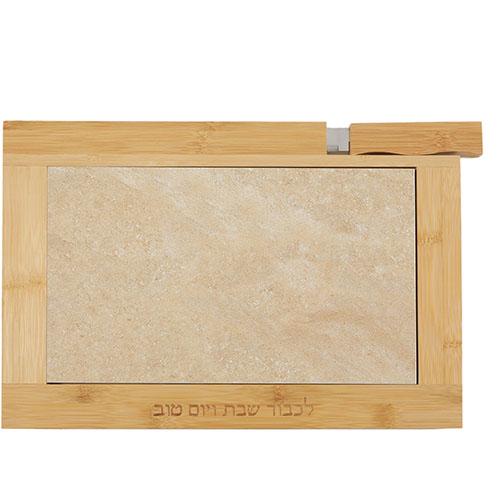 Planche à pain en bois et pierre avec couteau intégré