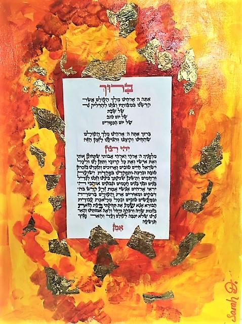 Allumage des bougies de chabat peint à l\'acrylique et décor à la feuille d\'or de SARAH D.