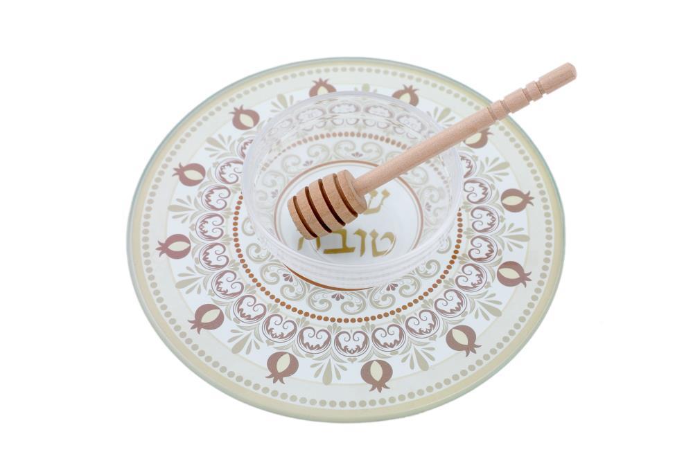 Assiète pot à miel en Verre Renforcé19 cm Spécial Roch Hachana 2 pièces