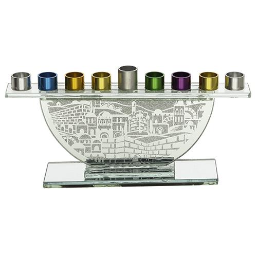 Hanoukia en verre pour fioles d\'huile avec branches colorées 11,5X26 cm - 45330