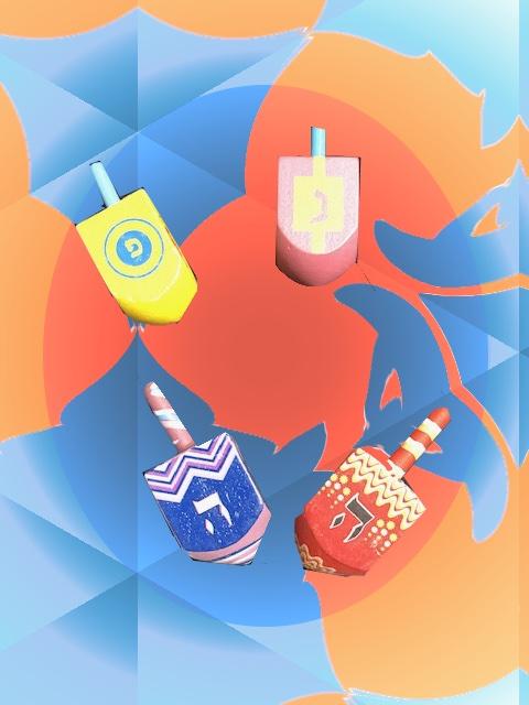 4 toupies en vrac colorées et décorées