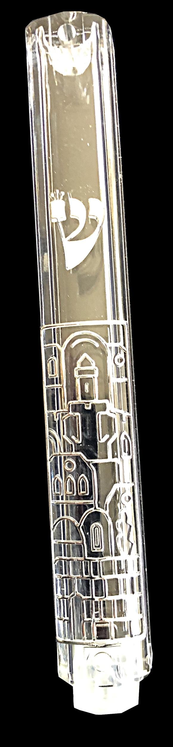 Boitier de mezouza en PVC transparent avec déco Jérusalem
