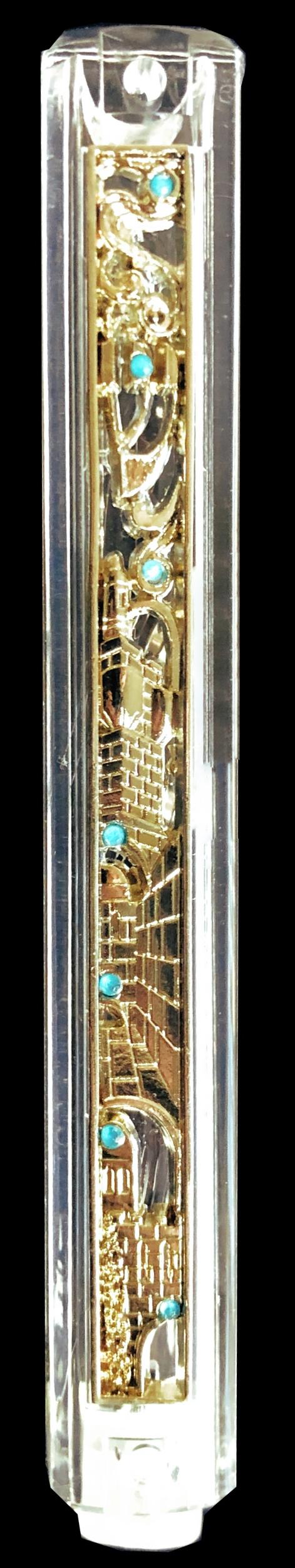 Boitier de Mezouza en PVC avec déco Jerusalem 12 cm
