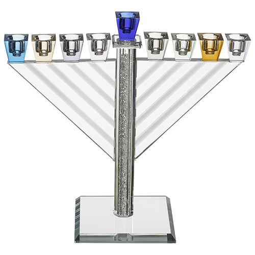 Très élégante Hanoukia en Crystal avec de très belles couleurs 21cm