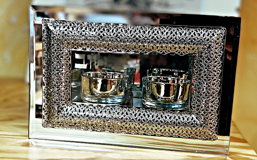 Bougeoirs chauffe plat en verre avec déco filigranes