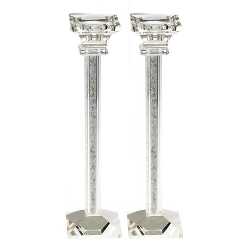 Très élégants Bougeoirs en Crystal de 28 cm - Chabbat