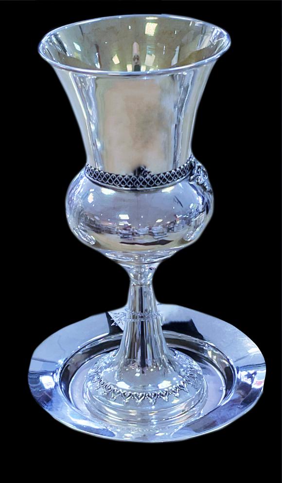 Elégant verre de Kiddouch en argent massif classique et fin