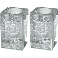 Bougeoirs chauffe plat en cristal avec déco Jérusalem en filigrane