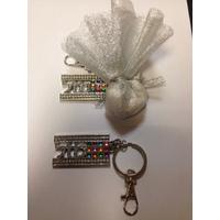 Porte clés Mazal strass blanc 50 pièces