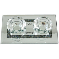 Bougeoirs chauffe plat en cristal sur plateau