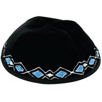 Kippa pour enfant en velour noir avec broderies turquoise