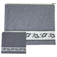 Housses Talit et Tefilines de luxe brodées en lin gris