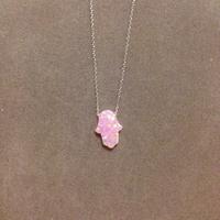 Chaine argent avec pendentif opaline rose