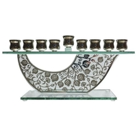 Hanoukia en verre sur socle avec déco métal decoupé