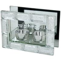 Bougeoirs sur socle en verre avec encadrement style pierre du Kotel en verre brisé