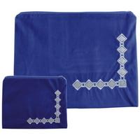 Housse Talit et téfilines bleu roi avec broderies blanches