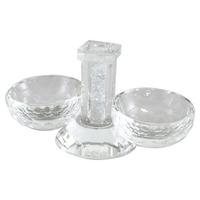 Salière en cristal avec verres pilés au centre