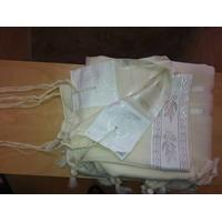 Talit  gadol Blanc en laine Peignée Luxe (Taille 50)
